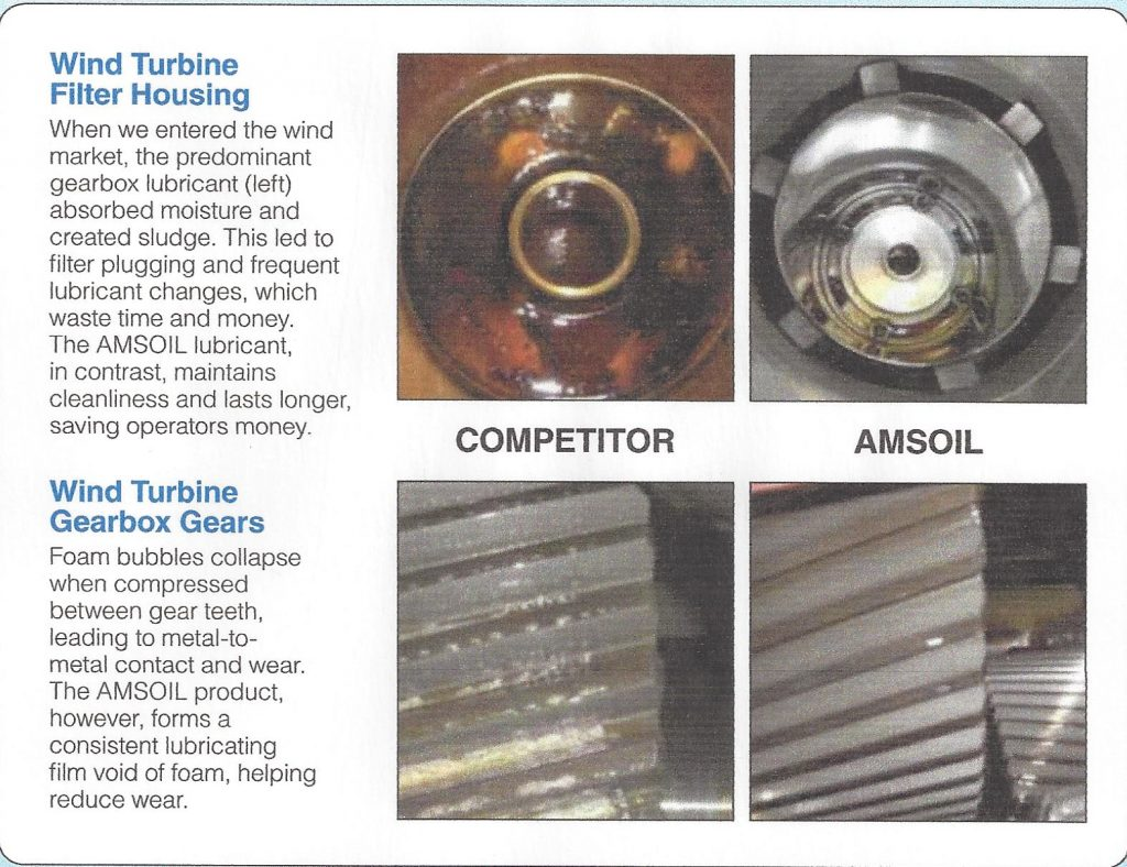 Image showing ball bearings and gear teeth lubricated with a competitors oil and with AMSOIL.