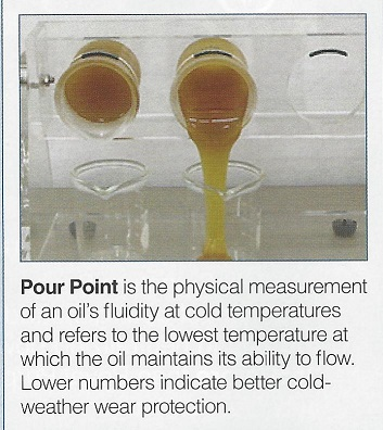 Pour Point is the measurement of a fluids ability to flow in cold temperatures and refers to the lowest temperature at which it will flow.