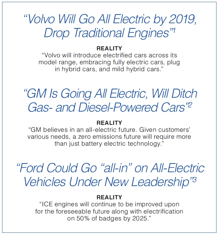 News headlines inferring Volvo, GM, and Ford will be moving to all electric vehicles in the near future.