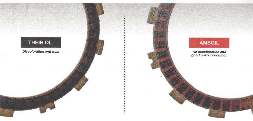 Comparison of Clutch Plates in extreme simulated start test after 32 simulated race starts. One set used the OEM oil and the other set used AMSOIL Synthetic Dirt Bike Oil.