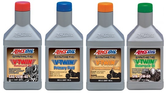 AMSOIL's Synthetic V-Twin Oils, Primary and Transmission Fluid.