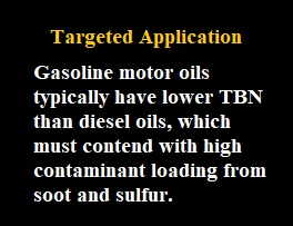 Targeted Application - Gasoline motor oils typically have lower TBN than diesel oils, which must contend with high contaminant loading from soot and sulfur