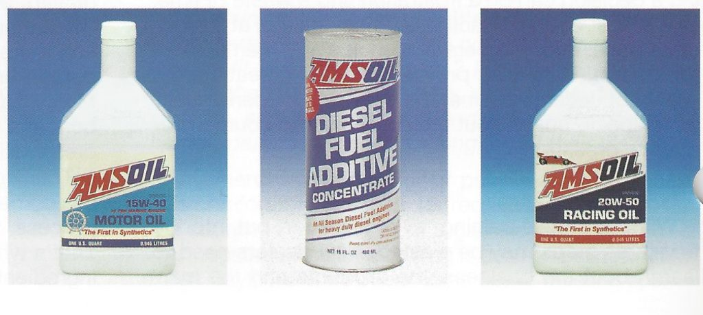 Packaging 25 years ago for AMSOIL AME 15w40 Diesel Oil, ADC Diesel Fuel Additive, and ARO 20w50 Racing Oil.