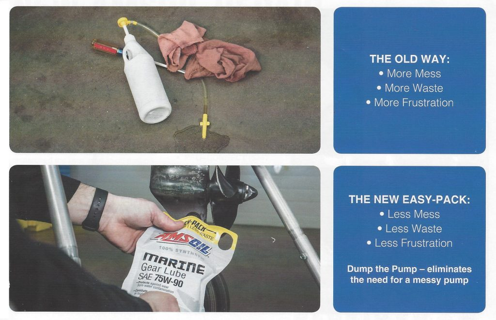 Installing Marine Gear Lube The Old Way With A Bottle & Pump vs The AMSOIL Easy-Pack.
