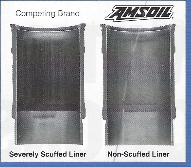 AMSOIL significantly reduces liner scuffing compared to competing brand diesel oil