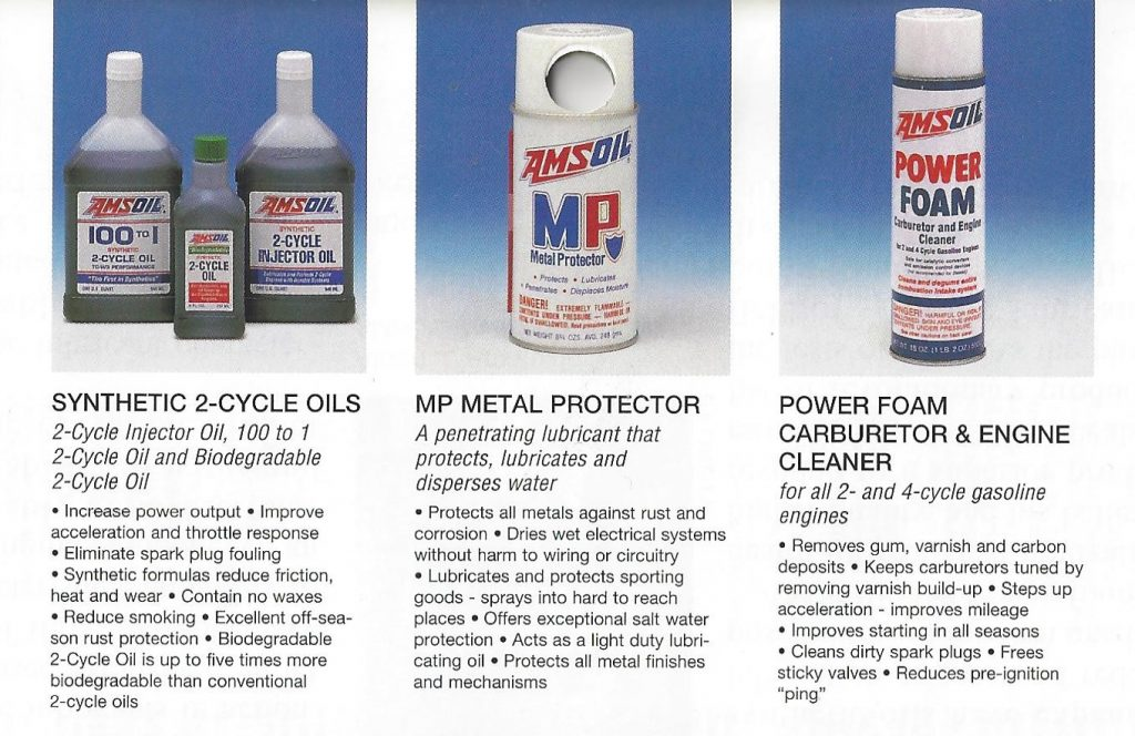 AMSOIL 1995 Calendar Showing The AMSOIL Synthetic 2-Cycle Oils, AMSOIL AMP Metal Protector And AMSOIL APF Power Foam Carburetor & Engine Cleaner.