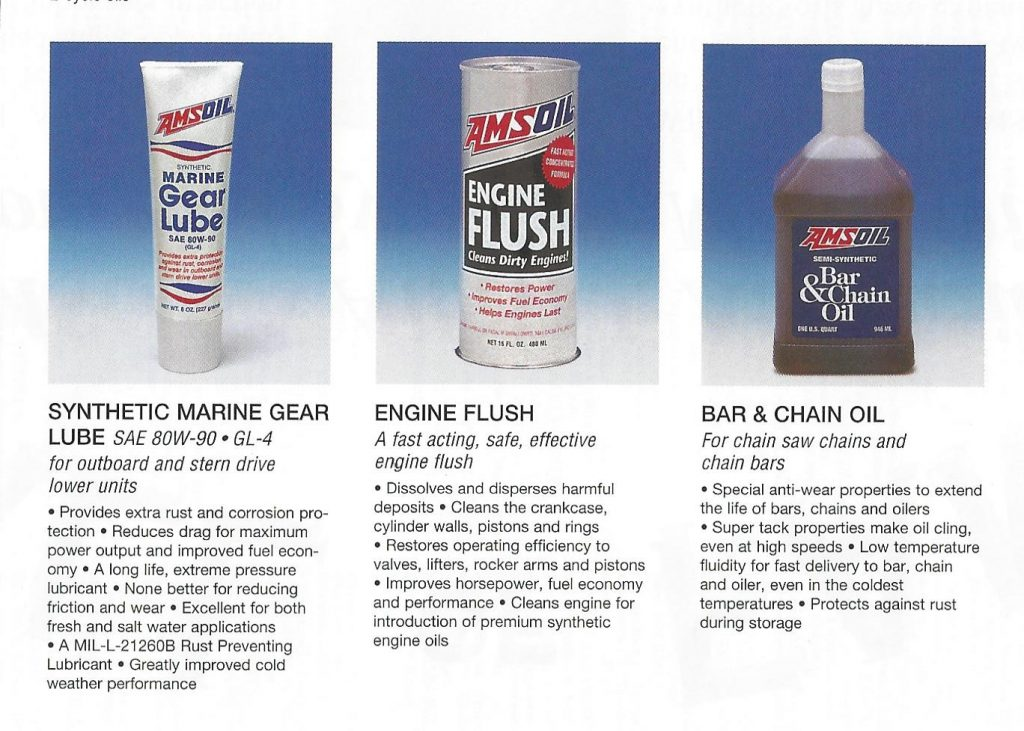 AMSOIL 1995 Calendar Showing The AMSOIL Synthetic Marine Gear Lube, AMSOIL Engine Flush And The AMSOIL Semi-Synthetic Bar & Chain Oil