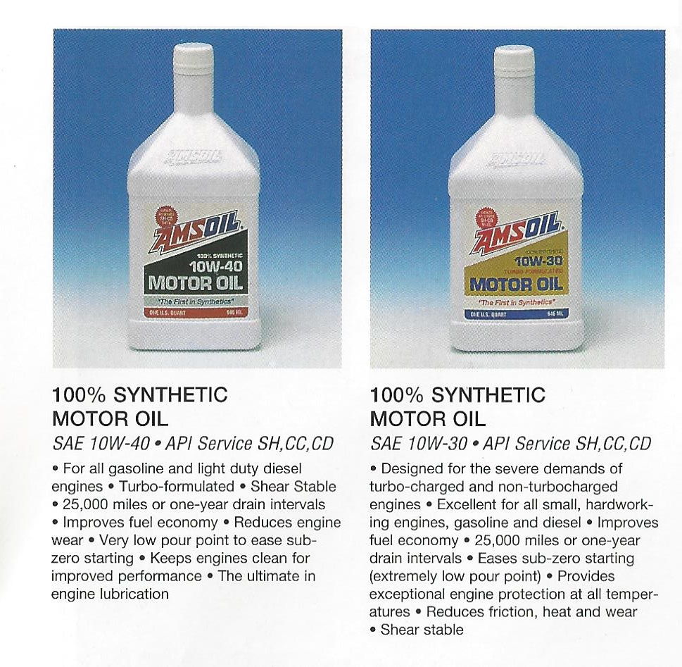 From 1995 AMSOIL Calendar: AMSOIL SAE 10W40 & SAE 10W30 100% Synthetic Motor Oil