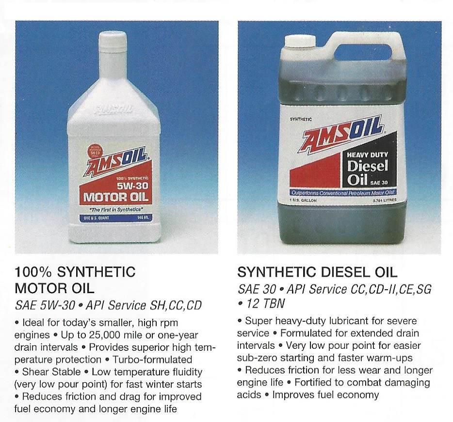 From 1995 AMSOIL Calendar: AMSOIL ASL 100% Synthetic 5W30 Motor Oil and AMSOIL ACD SAE 30 Synthetic Diesel Oil