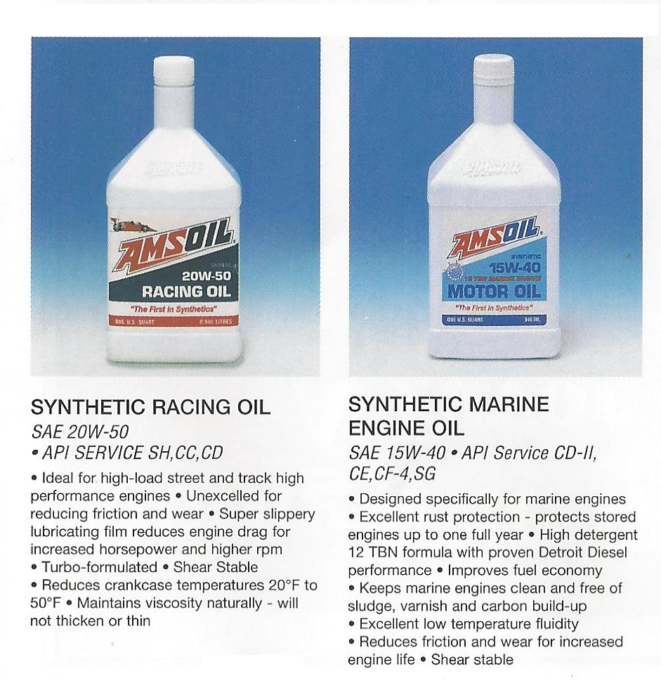 AMSOIL 1995 Calendar showing ARO Synthetic 20w50 Racing Oil and AME 15w40 Diesel & Marine  Oil