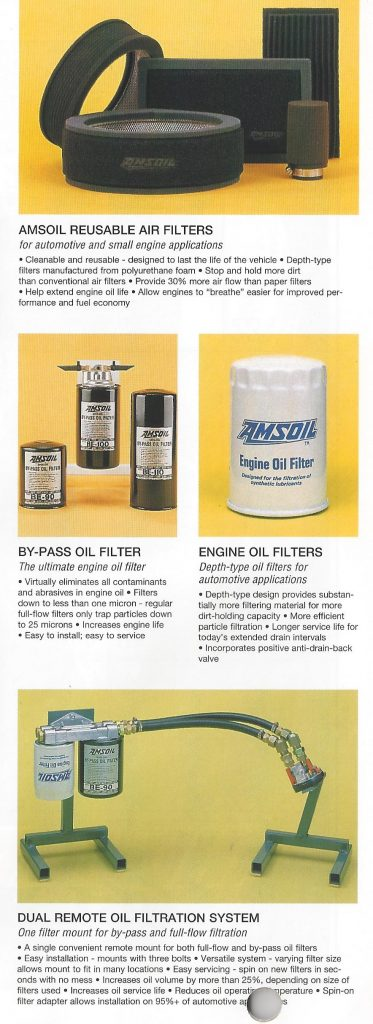 AMSOIL 1995 Calendar Showing The AMSOIL Reusable Air Filters, The AMSOIL By-Pass And Full Flow Oil Filters And The AMSOIL Dual Remote Oil Filtration System