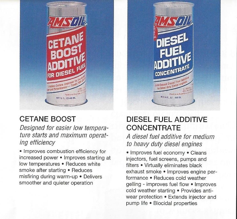AMSOIL 1995 Calendar Showing AMSOIL ACB Cetane Boost and ADC Diesel Fuel Additive Concentrate.