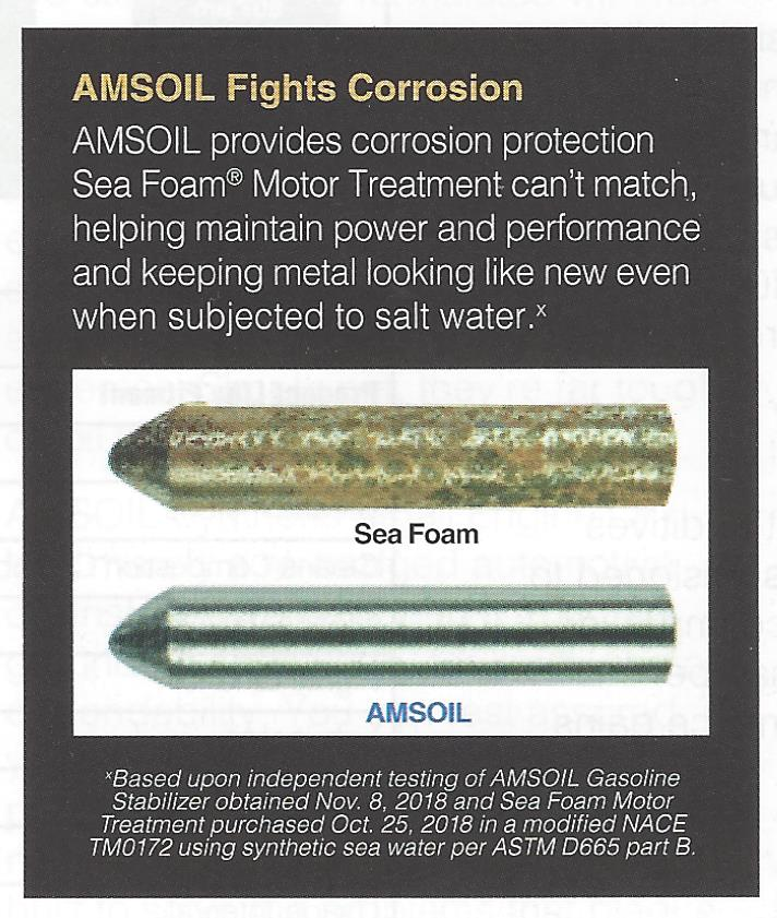 Comparison of Sea Foam Motor Treatment and AMSOIL Gasoline Stabilizer in the modified NACE TM0172 test using synthetic sea water per ASTM D665 part B.
