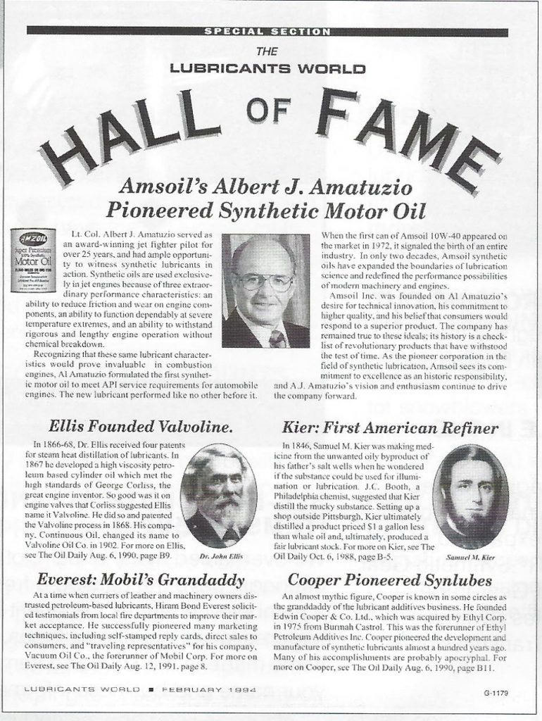 AMSOIL's Albert J Amatuzio Induction Into The Lubricants World Hall Of Fame
