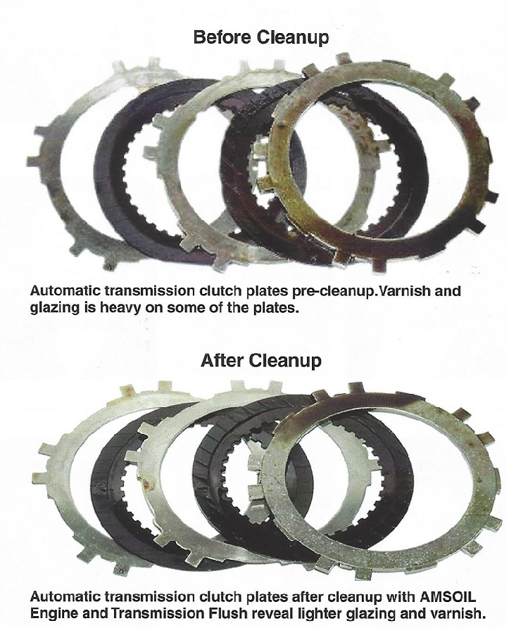Automatic transmission clutch plates before and after cleanup with AMSOIL Engine And Transmission Flush