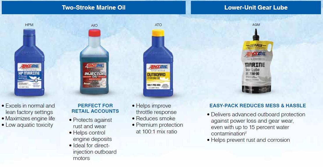 AMSOIL 2-Stroke Marine Oils and Lower Unit Gear Lube