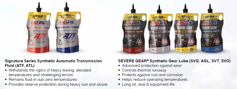AMSOIL Signature Series Synthetic Automatic Transmission Fluid and SEVERE GEAR® Synthetic Gear Lube in 1 Quart EZ Pour Pouches.