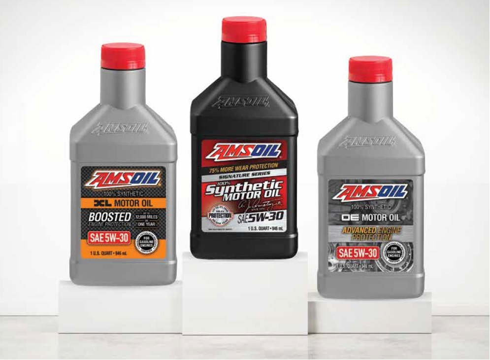 Quart bottles of AMSOIL OE, XL, and Signature Series Synthetic Motor Oils for increasing levels of protection
