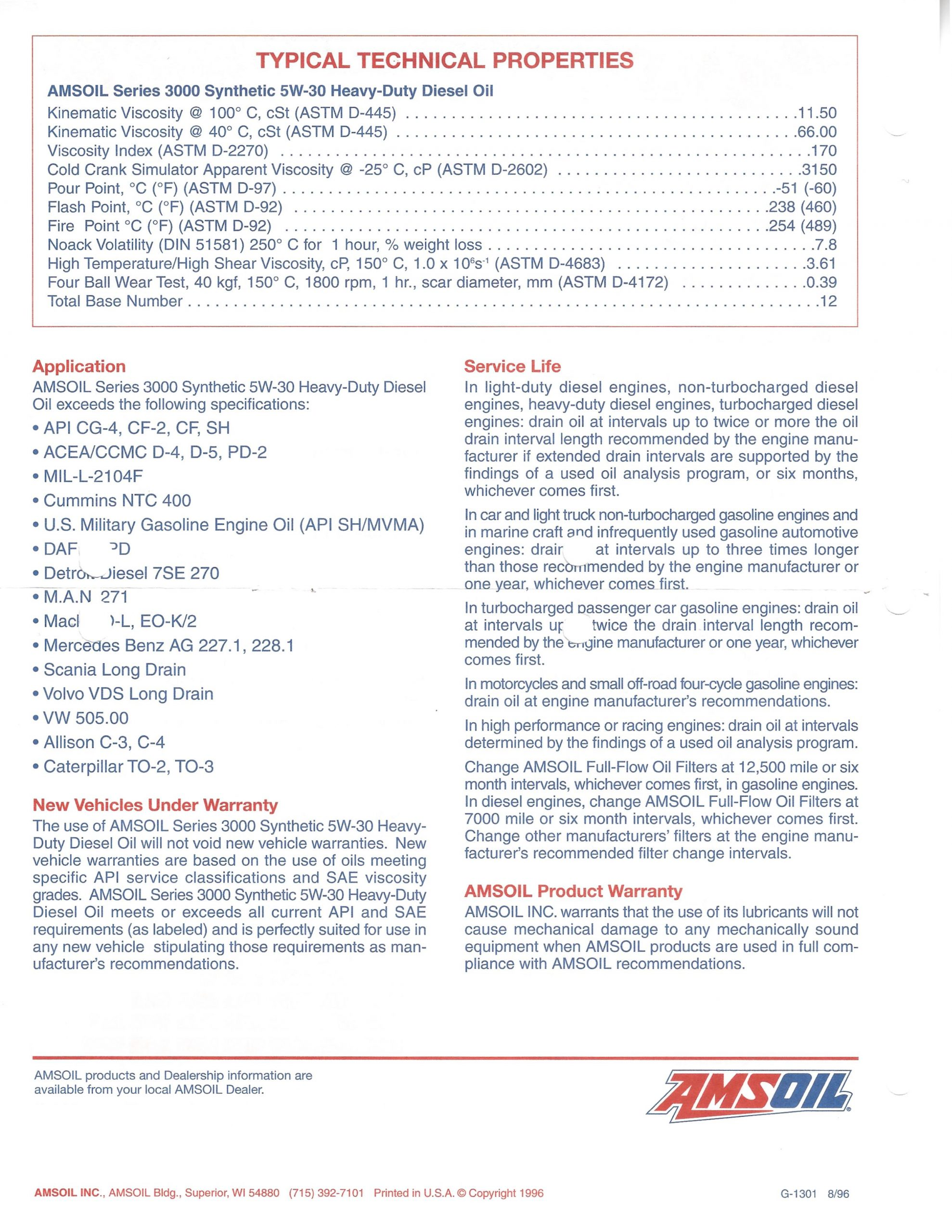 Back page of AMSOIL Data Sheet G1301 for Series 3000 Synthetic 5w30 Heavy Duty Diesel Oil dated 08/96